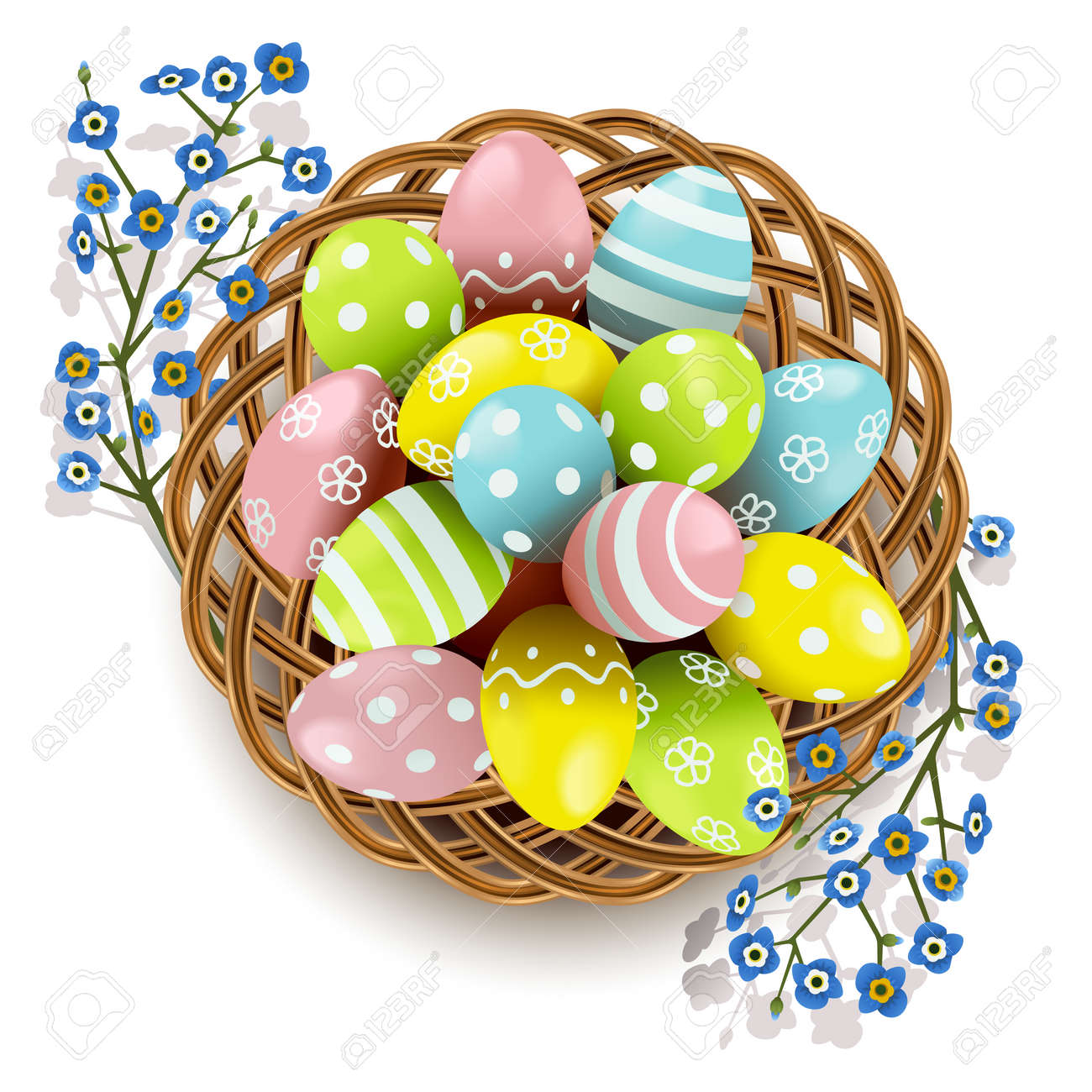 Vector Easter Eggs with Wicker Dish isolated on white background - 163516316