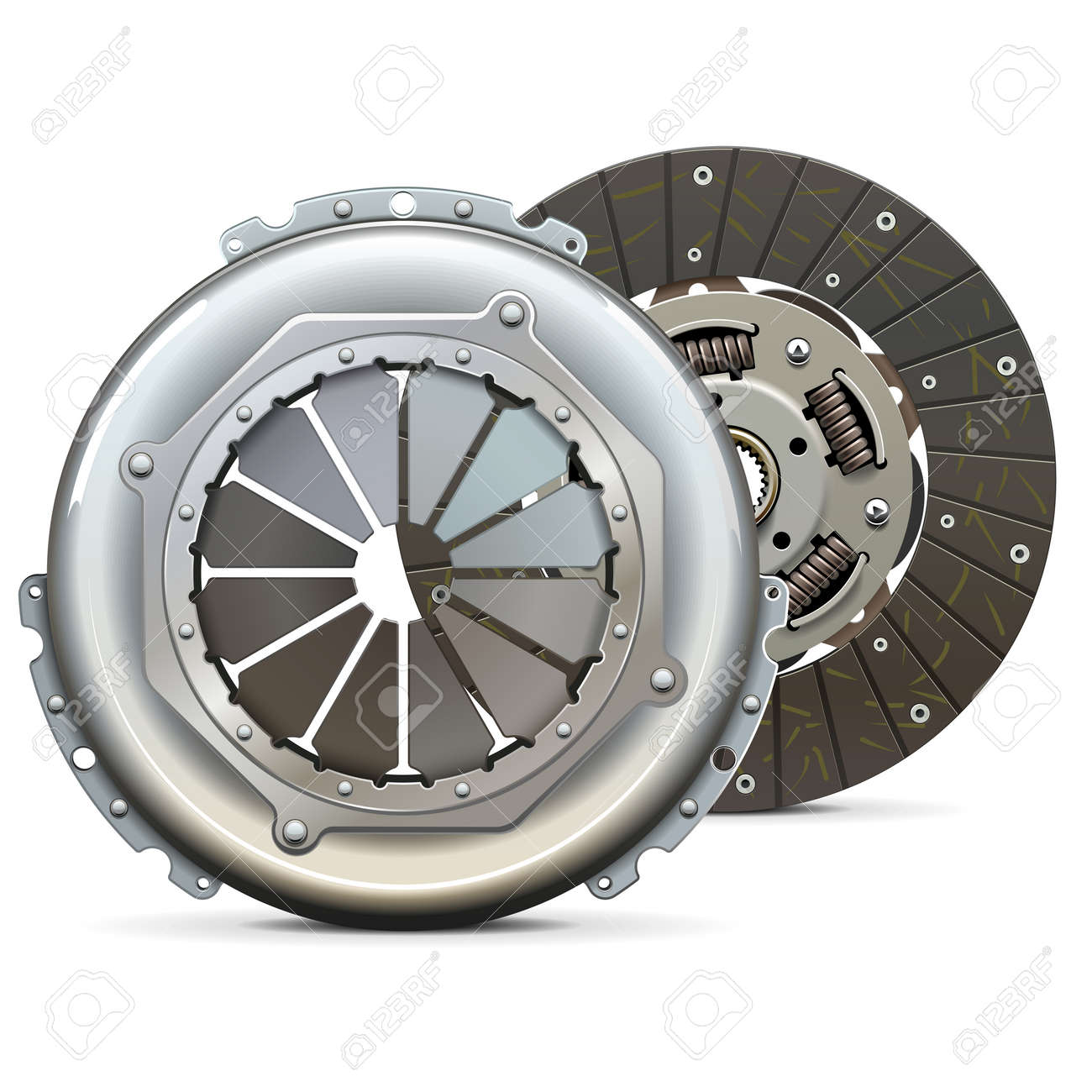 Vector Clutch Cover with Clutch Plate isolated on white background - 164633765
