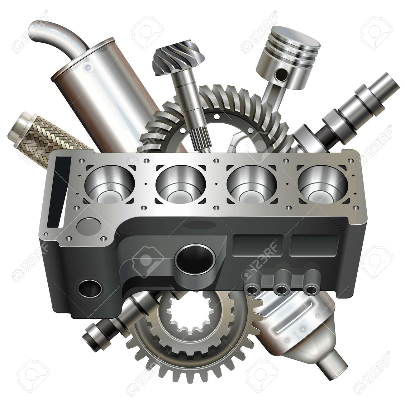 Vector Engine Block with Parts isolated on white background - 165558616