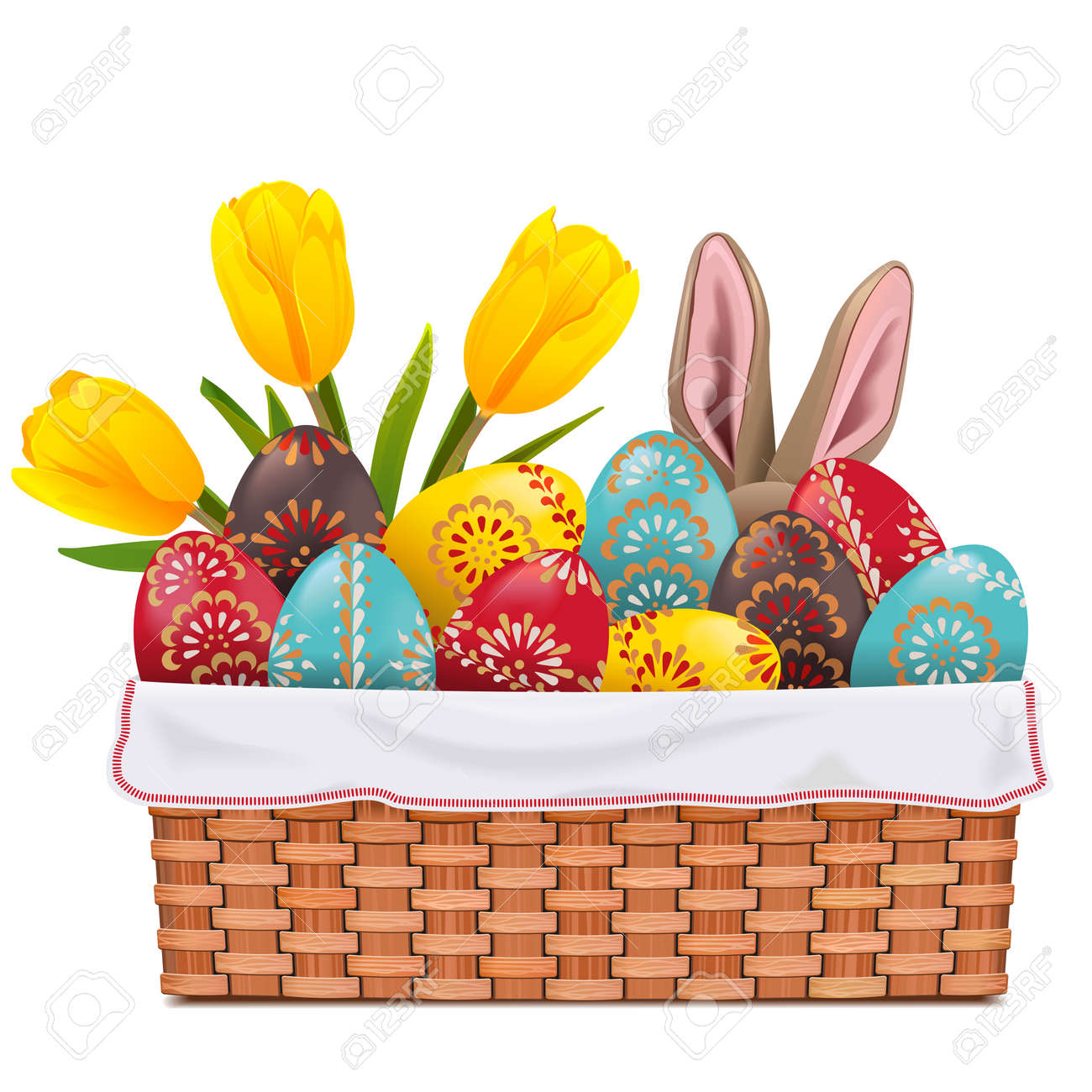 Vector Easter Basket with Painted Eggs isolated on white background - 165558448