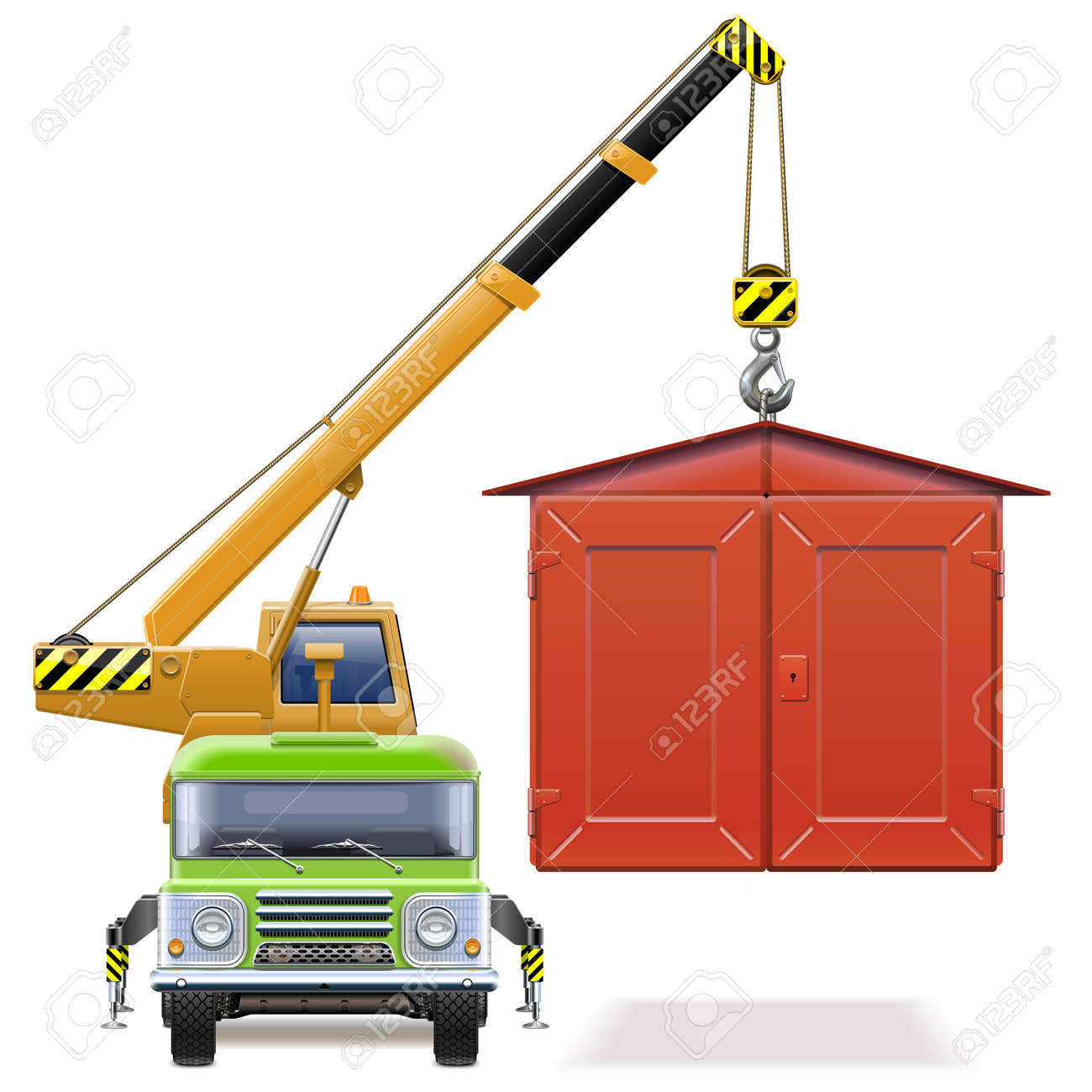 Vector automobile garage with crane truck on white - 165709103