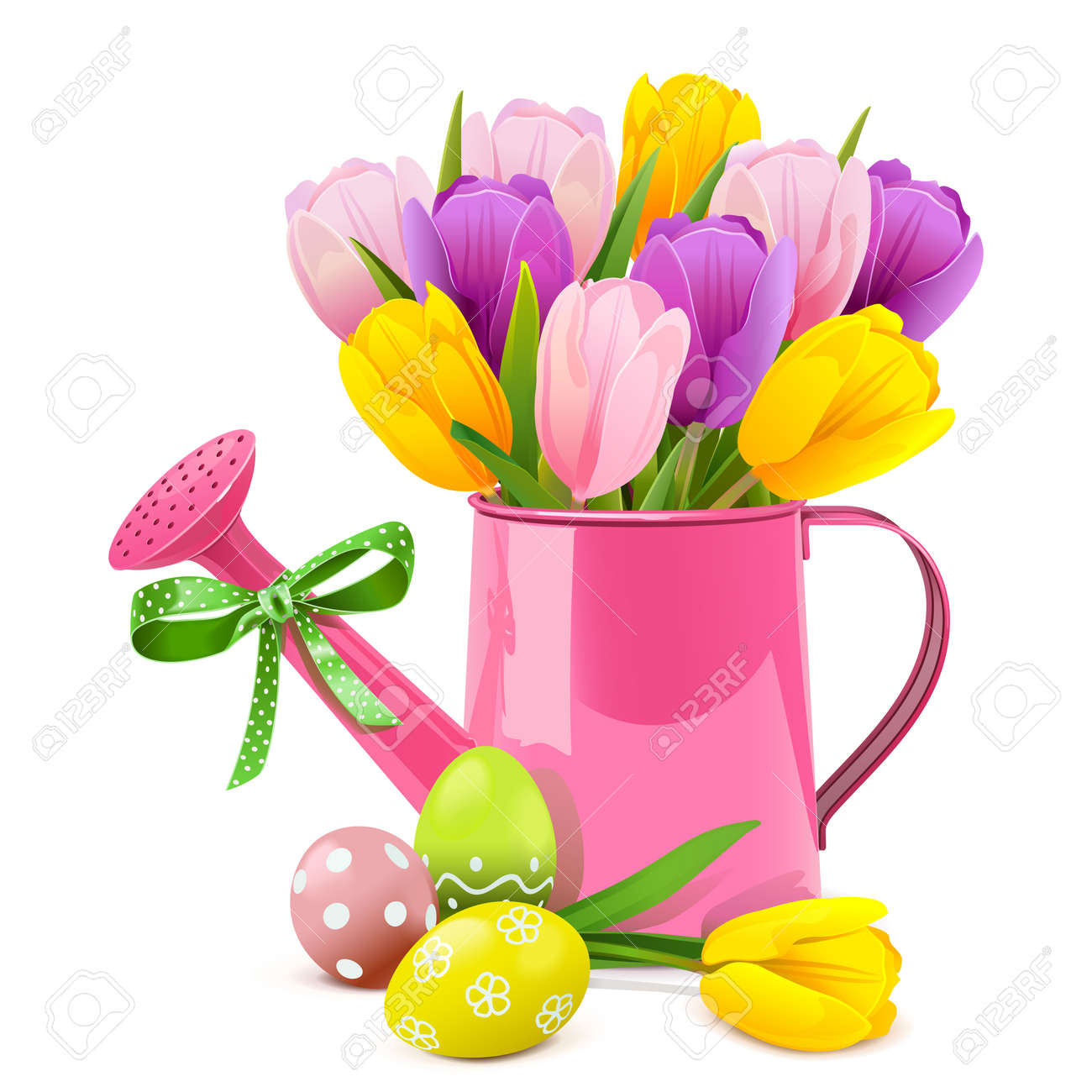 Vector Easter Concept with Pink Watering Can isolated on white background - 165558657