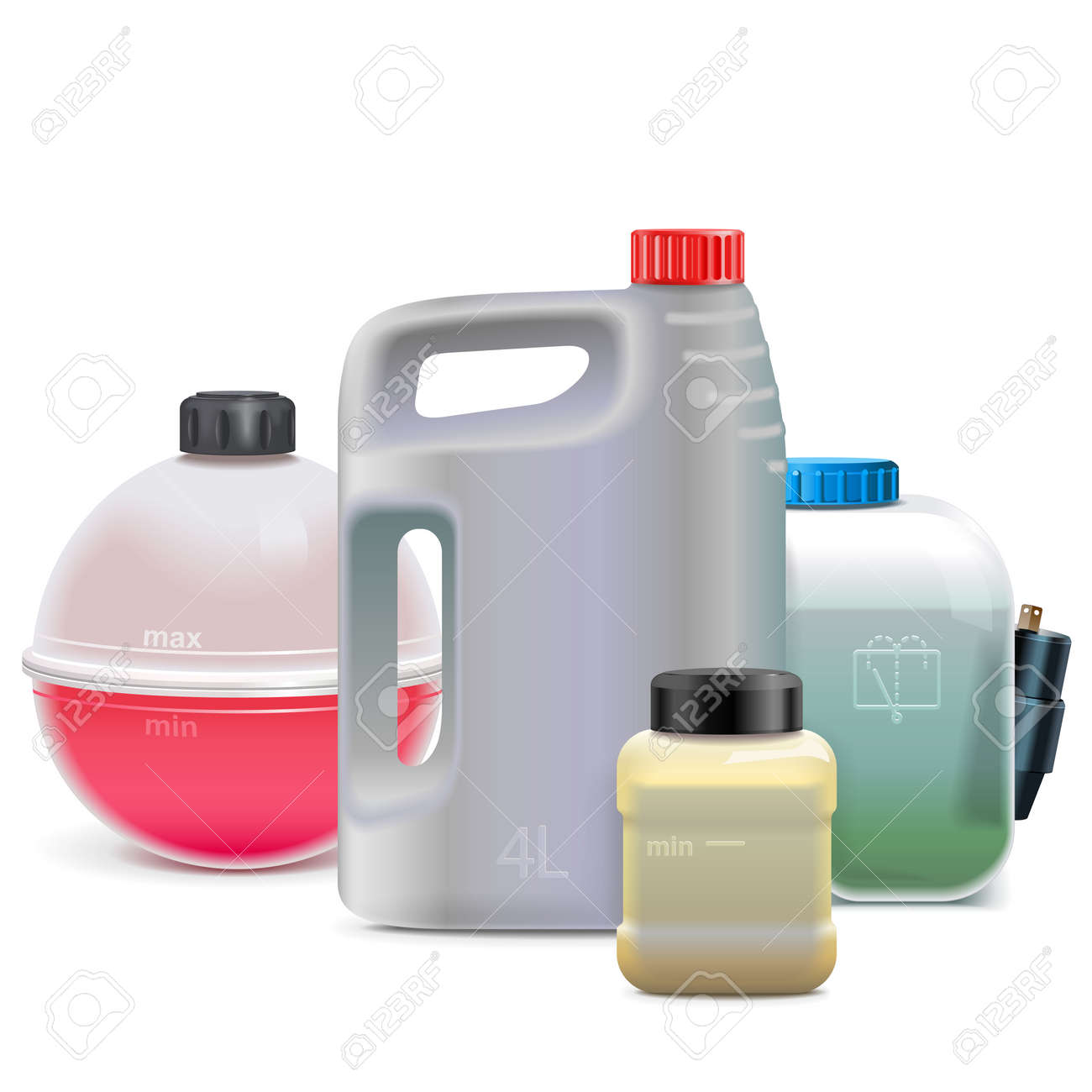 Vector Car Fluid Flasks isolated on white background - 165561405