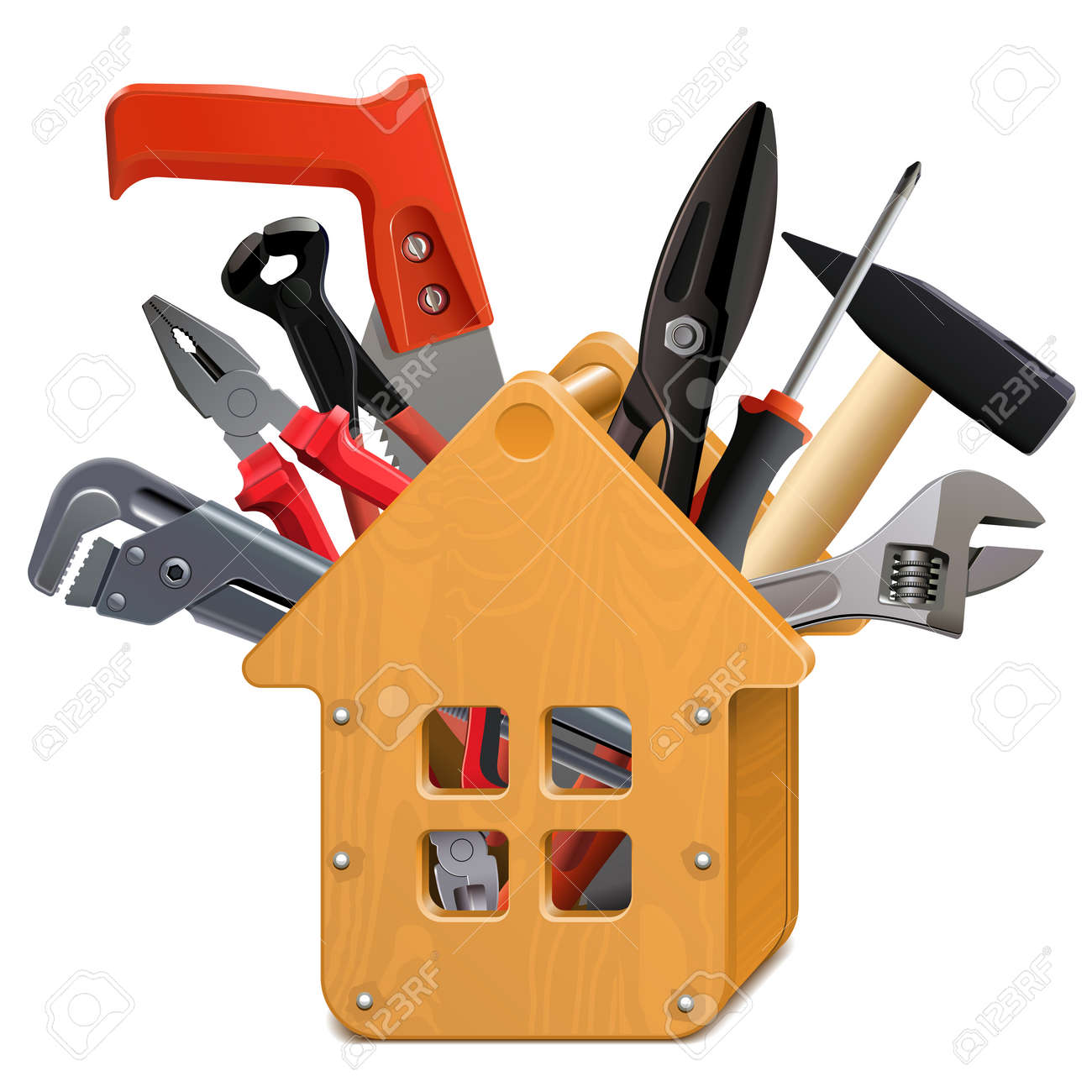 Vector wooden house toolbox with tools on white - 165709100