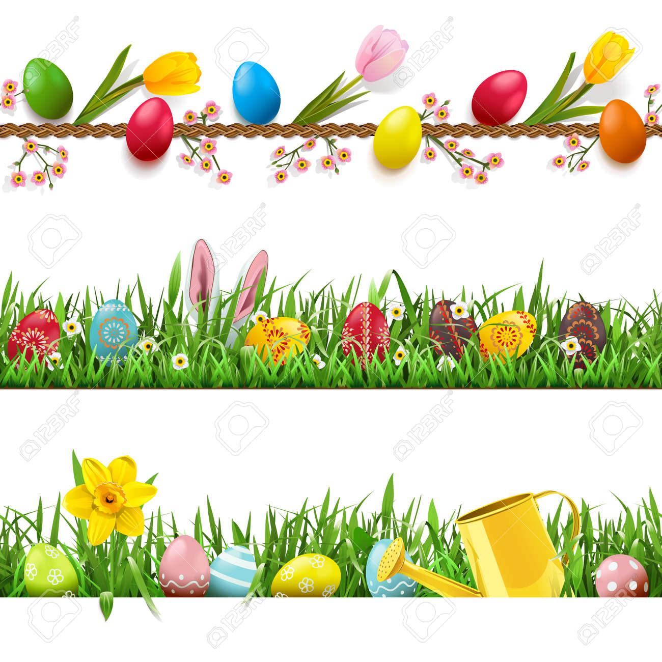 Vector Easter borders set on white - 165709102