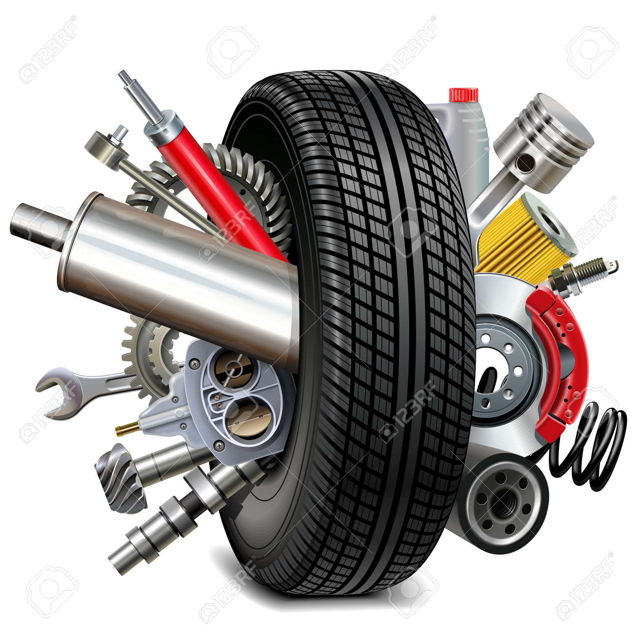 Car Parts with Tire isolated on white - 168703216