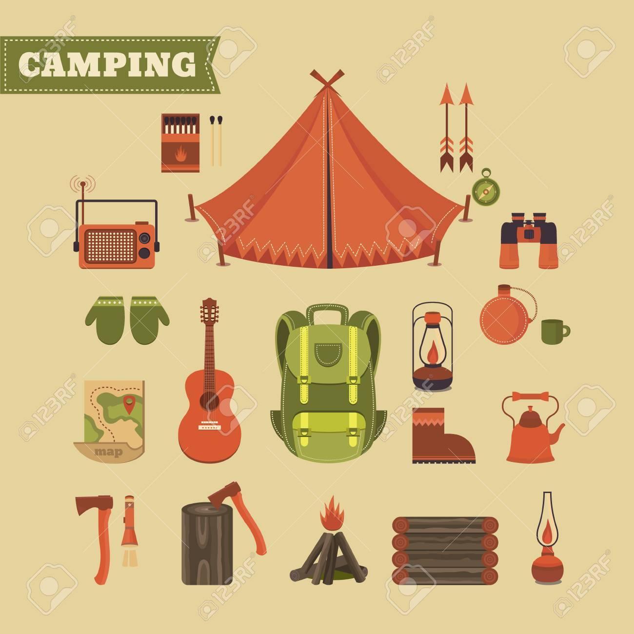 Conjunto De Vectores De Equipo Para Acampar Ilustración Sobre El Tema De Camping Deportes Y Recreación Al Aire Libre De Fondo Para Las Tarjetas
