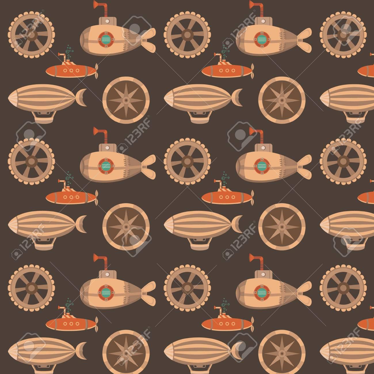 スチーム パンクのスタイルでのシームレスなパターン カード 招待状 Web ページ バナー 壁紙の背景 バルーン 歯車 潜水艦とのシームレスなビンテージ テクスチャです ヴィンテージ背景 のイラスト素材 ベクタ Image