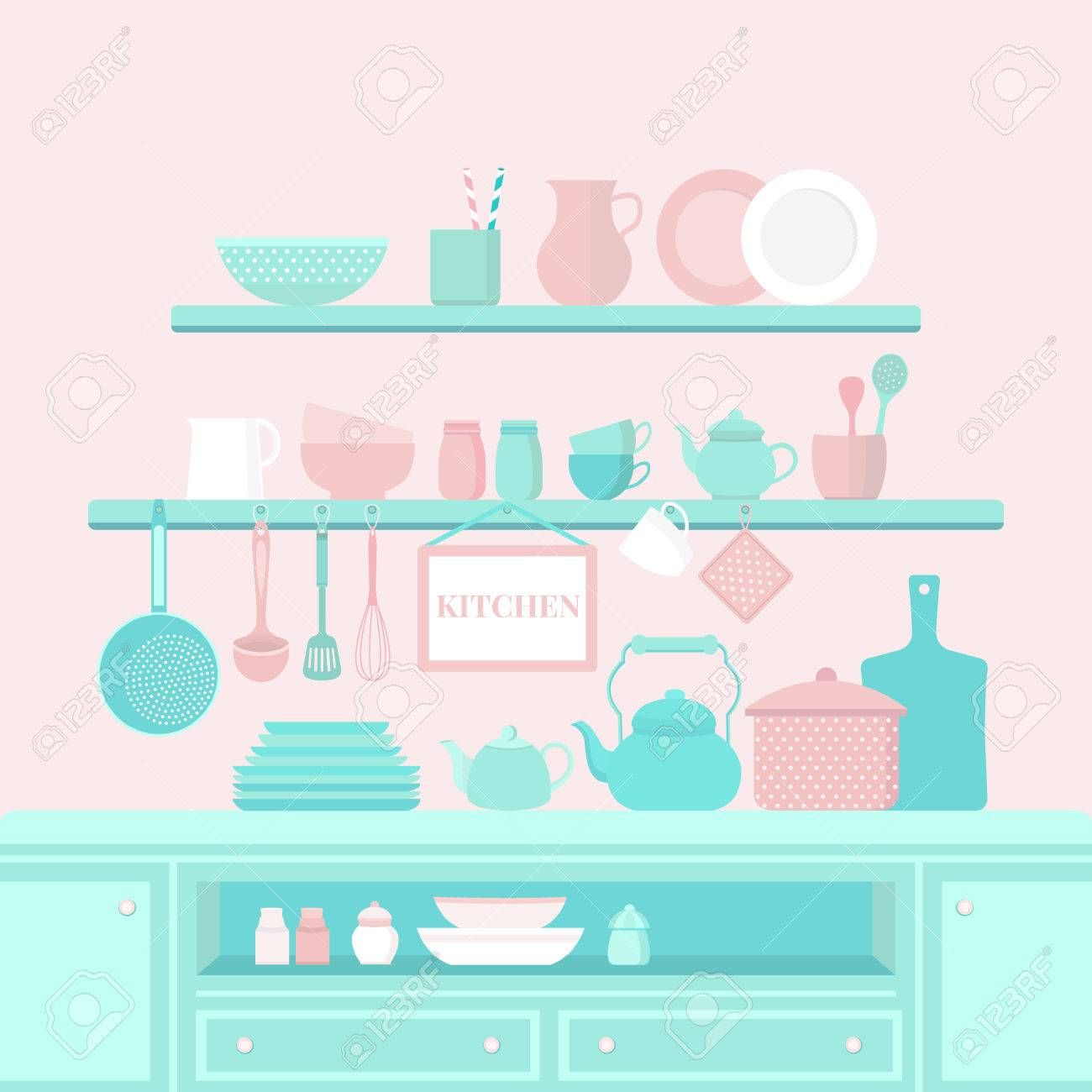 Vector Set Of Kitchen Utensils For Cooking. Kitchen Tools. The ...