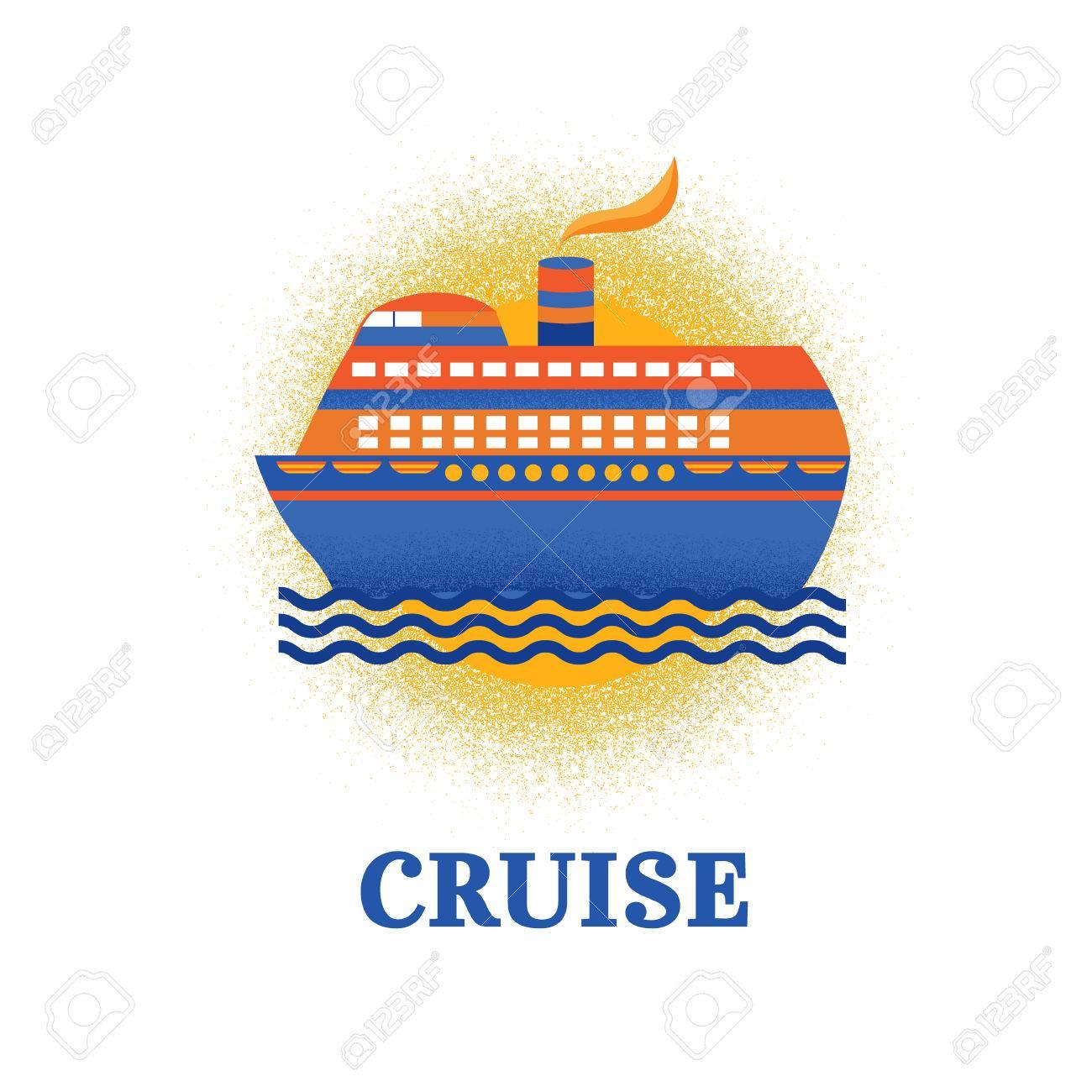 Illustration Vector Cruise Ship Illustration On Vacation Vacation