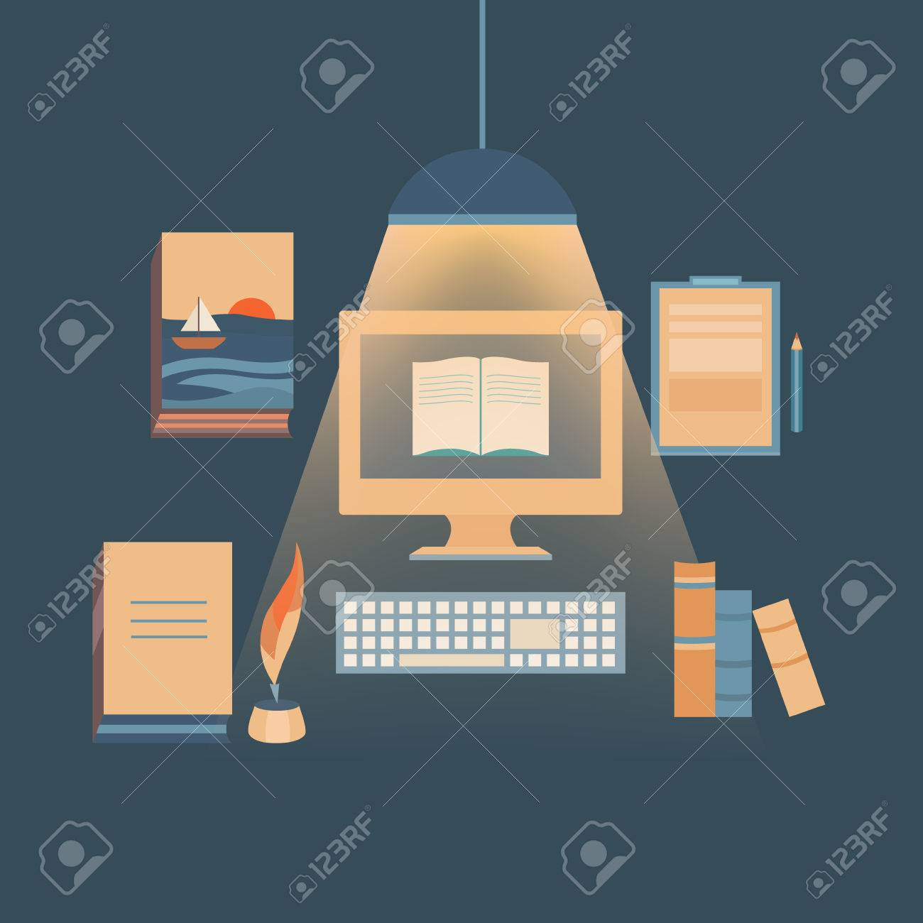 Illustration Bücher Zu Schreiben Und Texten. Set Von Vektor-Objekte ...