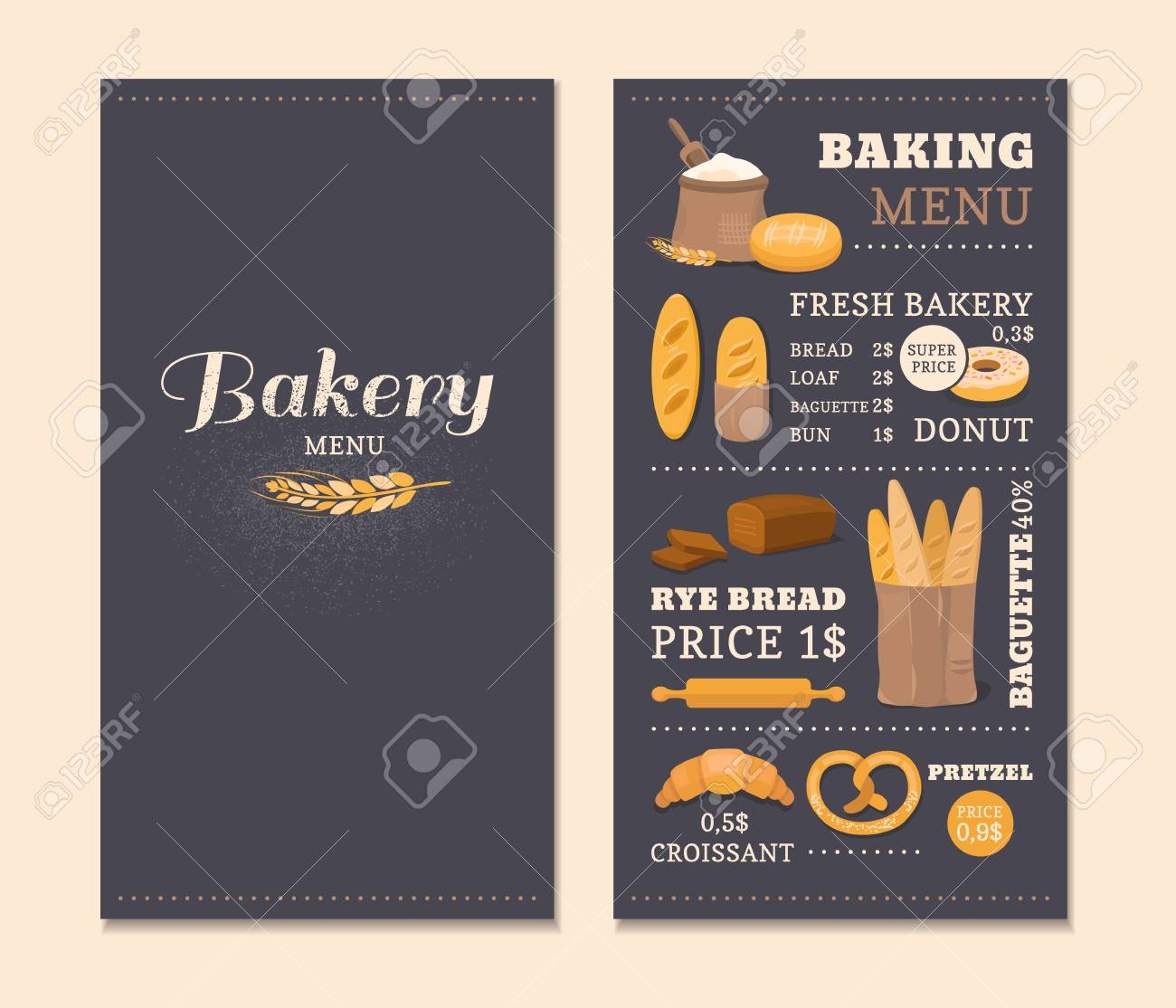 Menu template cafe bakery concept of the cover design menu menu template cafe bakery concept of the cover design menu collection of vector elements thecheapjerseys Images