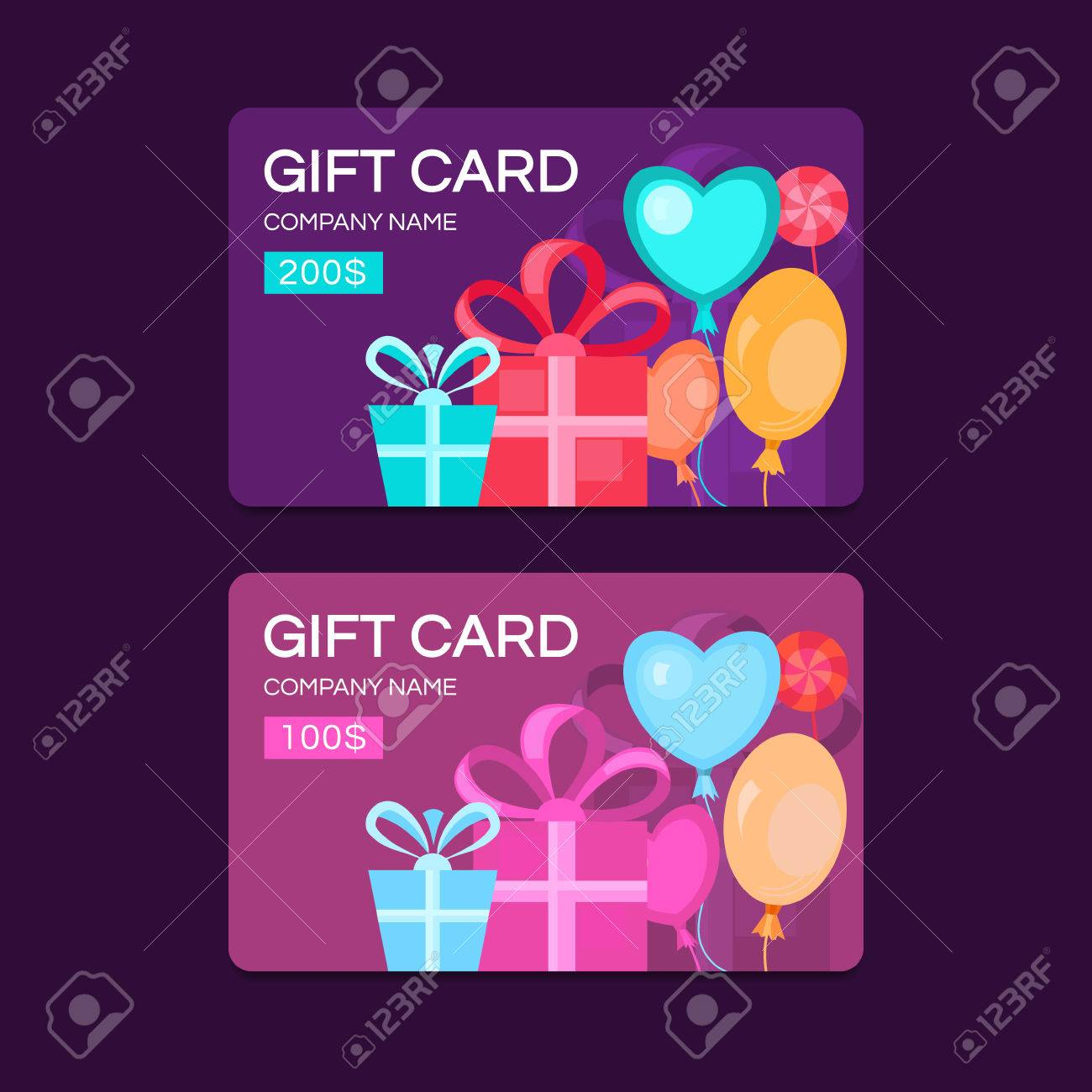 Gift Card Template. Discount Coupon. Special Offer For The Customer ...