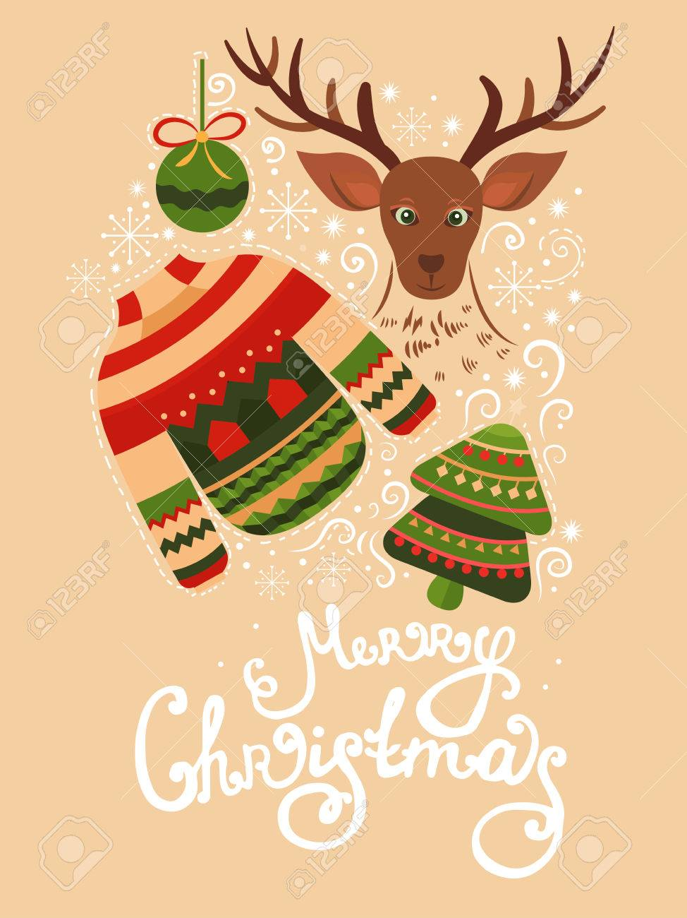 Vector Christmas Greeting Card With Sweater, Reindeer, Christmas ...