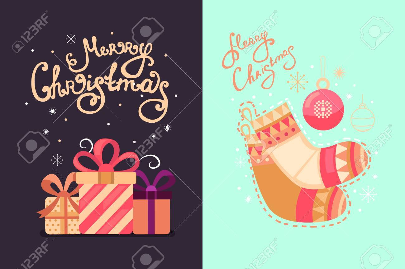 Merry Christmas Vector Greeting Cards With Gifts Socks And