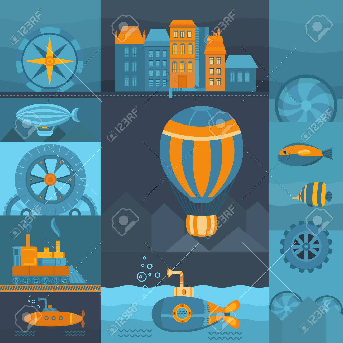 vector background steampunk set of objects balloon submarine