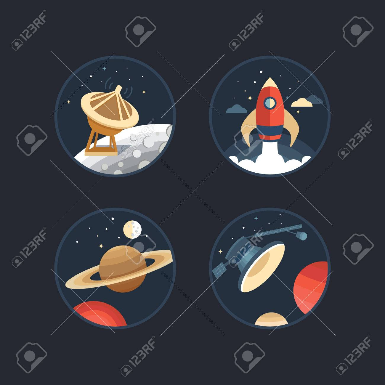 Set of vector icons of space collection of elements planet set of vector icons of space collection of elements planet moon satellite buycottarizona Gallery