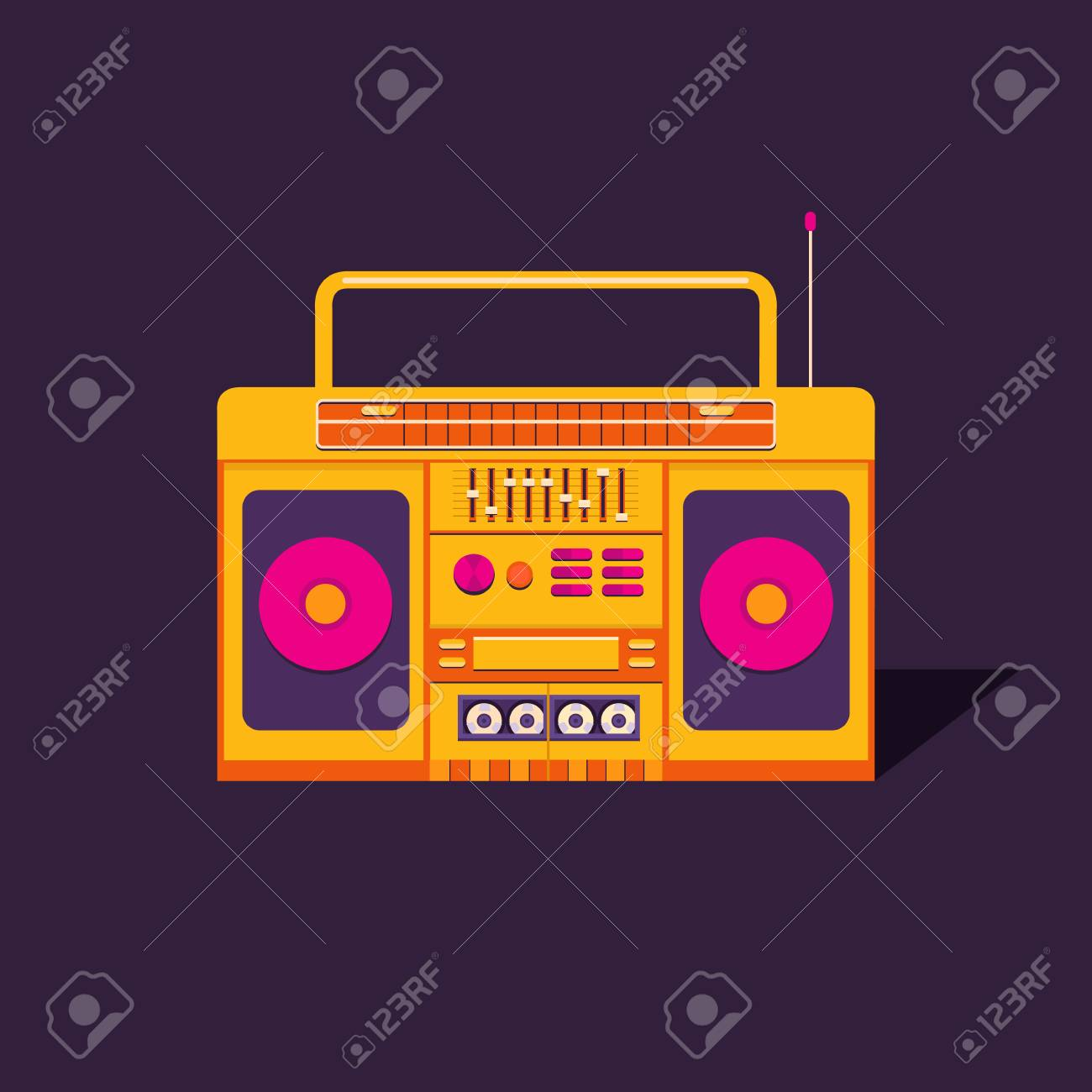 Illustration Of A Vintage Cassette Tape Recorder Nostalgia