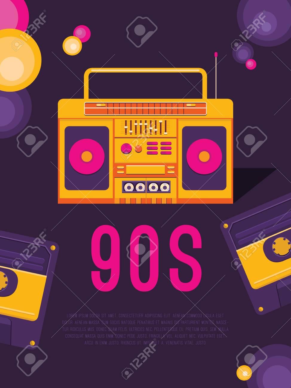 Música De Cartel De Los Años 90 Y 80 Folleto De Plantilla Con Grabadora De Cassette Fondo Del Vector Para La Invitación Tarjeta Boleto Bandera