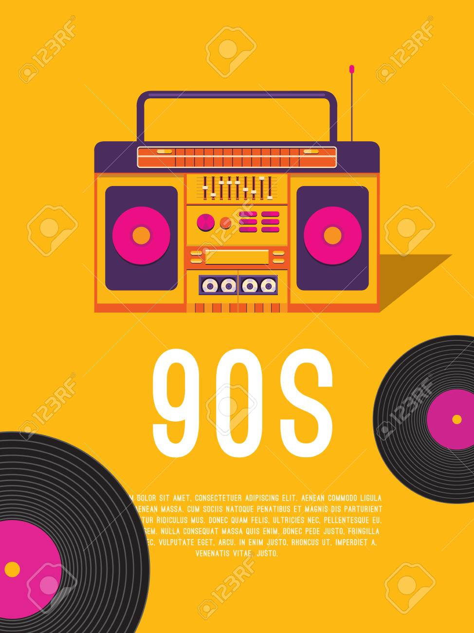 6f0edc6422c9b Música De Carteles De Los Años 90 Y 80. Folleto De Plantilla Con Grabadora  De Cassette Y Disco De Vinilo. Fondo De Vector Para Invitación