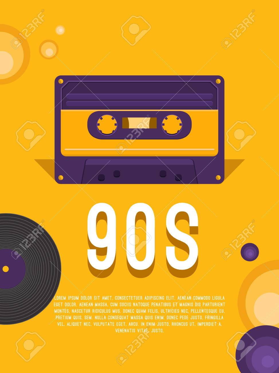 Música De Cartel De Los Años 90 Y 80. Plantilla De Volante Con ...