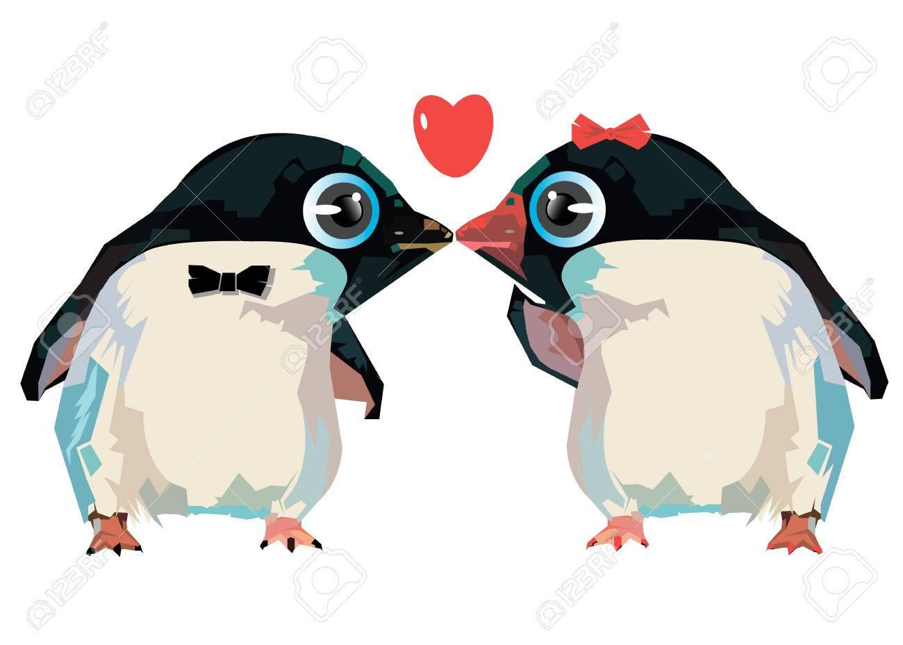 Pingüino Ilustración Dibujos Animados Animal Diseño Amor