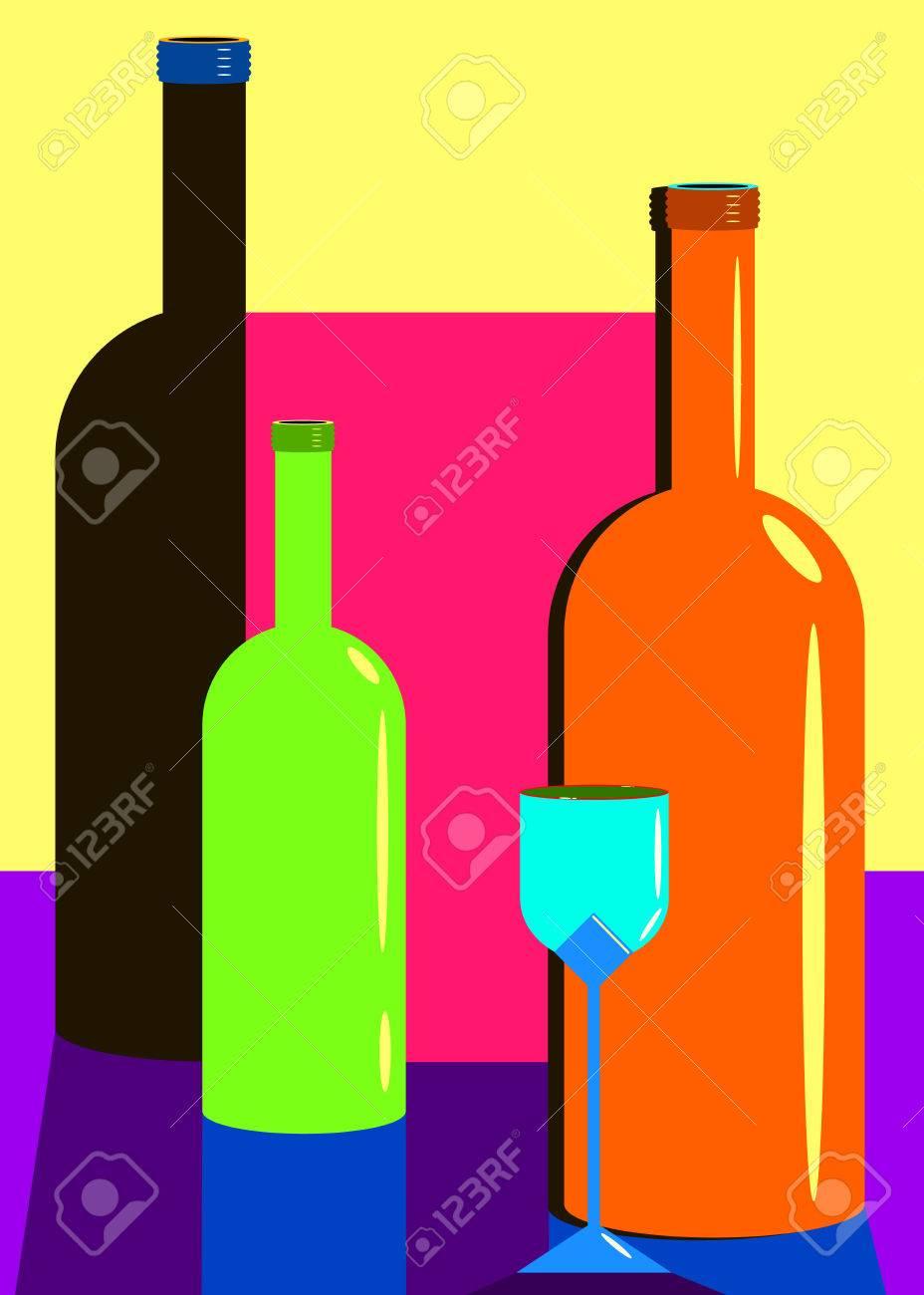 ワイングラス アルコール瓶ドリンク イラスト ロイヤリティフリー