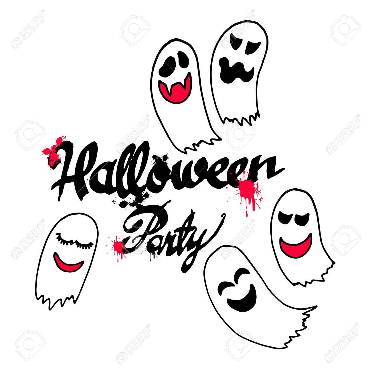 Fantome Vecteur Halloween Effrayant Illustration Dessin Anime Peur