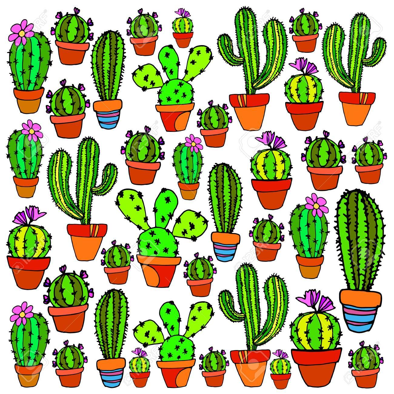 サボテン自然イラストベクトル植物グリーン花アートの