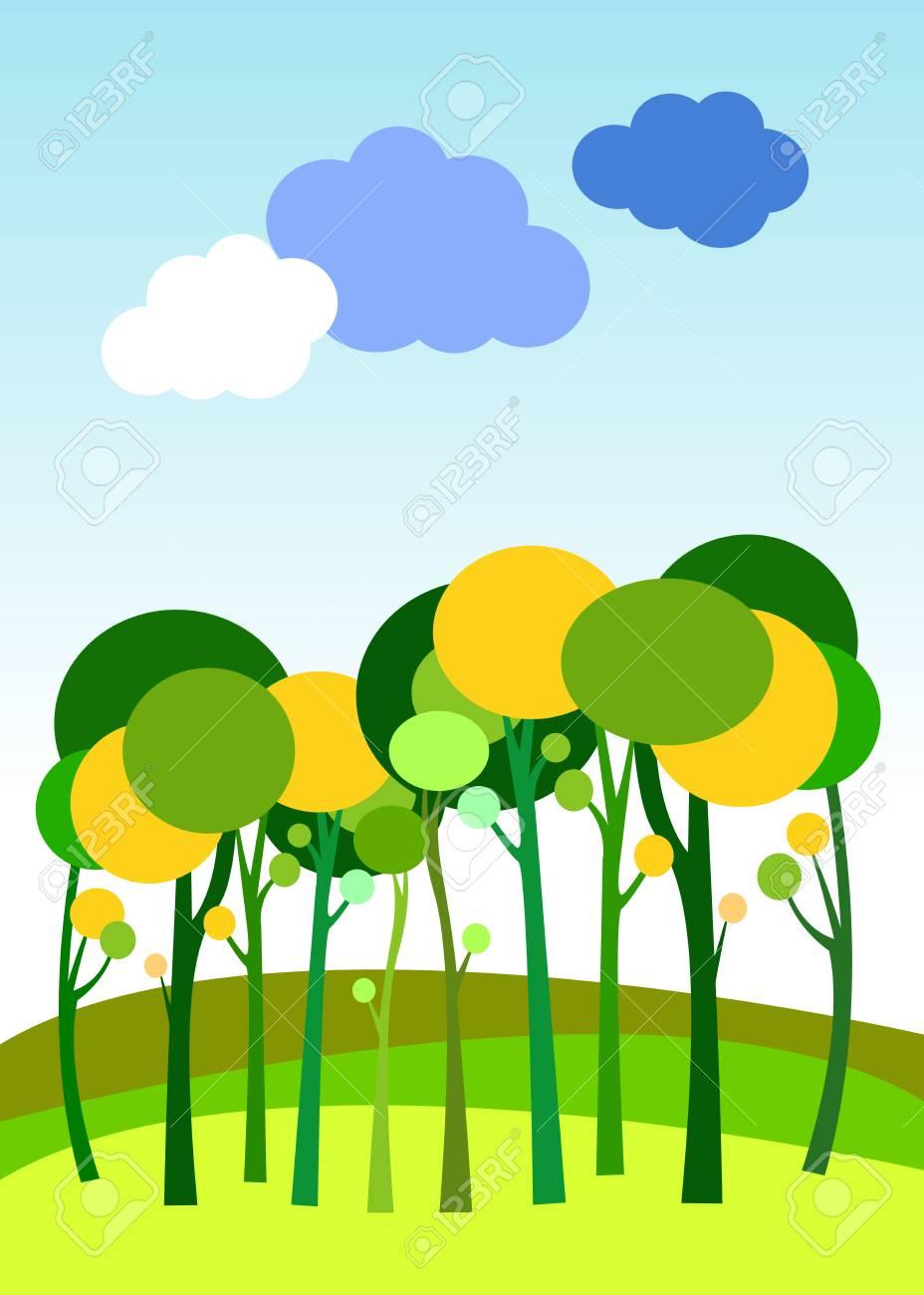 風景ベクトルの森イラスト背景シルエット ツリー ロイヤリティフリー