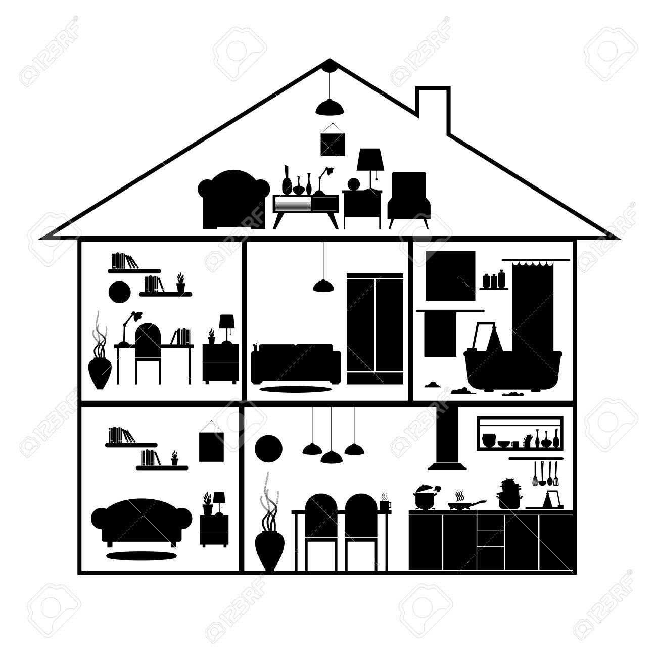 Casa En Corte. Detallado Interior De La Casa Moderna. Habitaciones ...