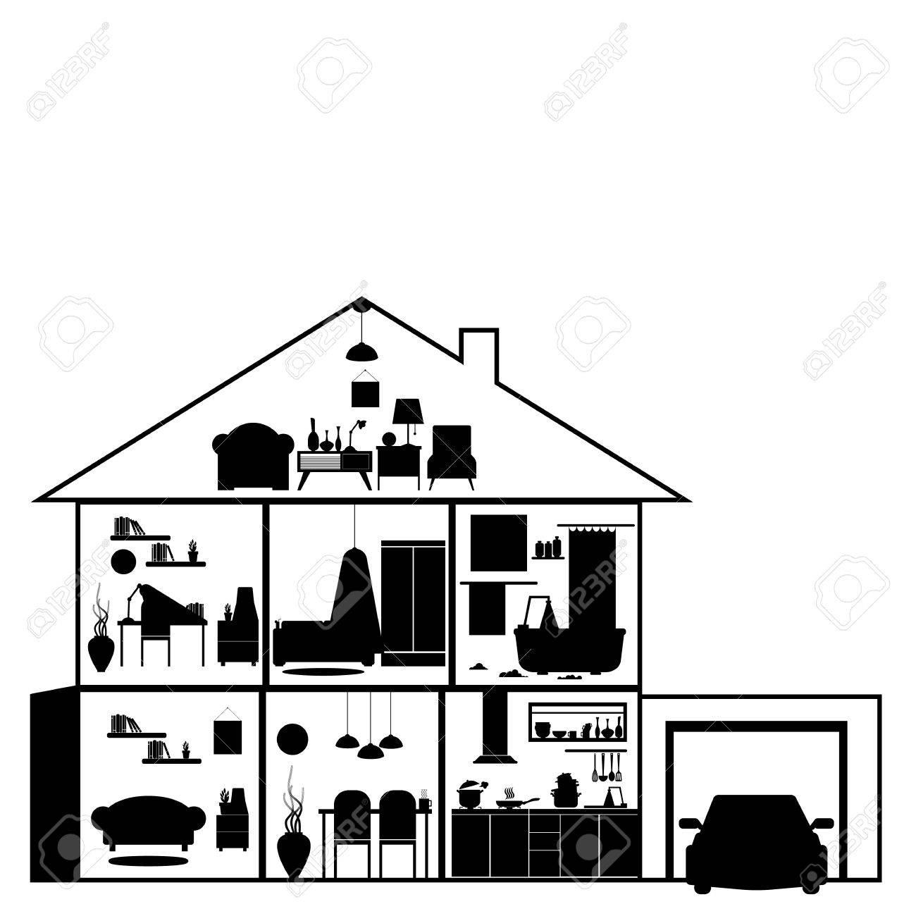 Haus In Schnitt. Detaillierte Modernes Haus Interieur. Zimmer Mit ...