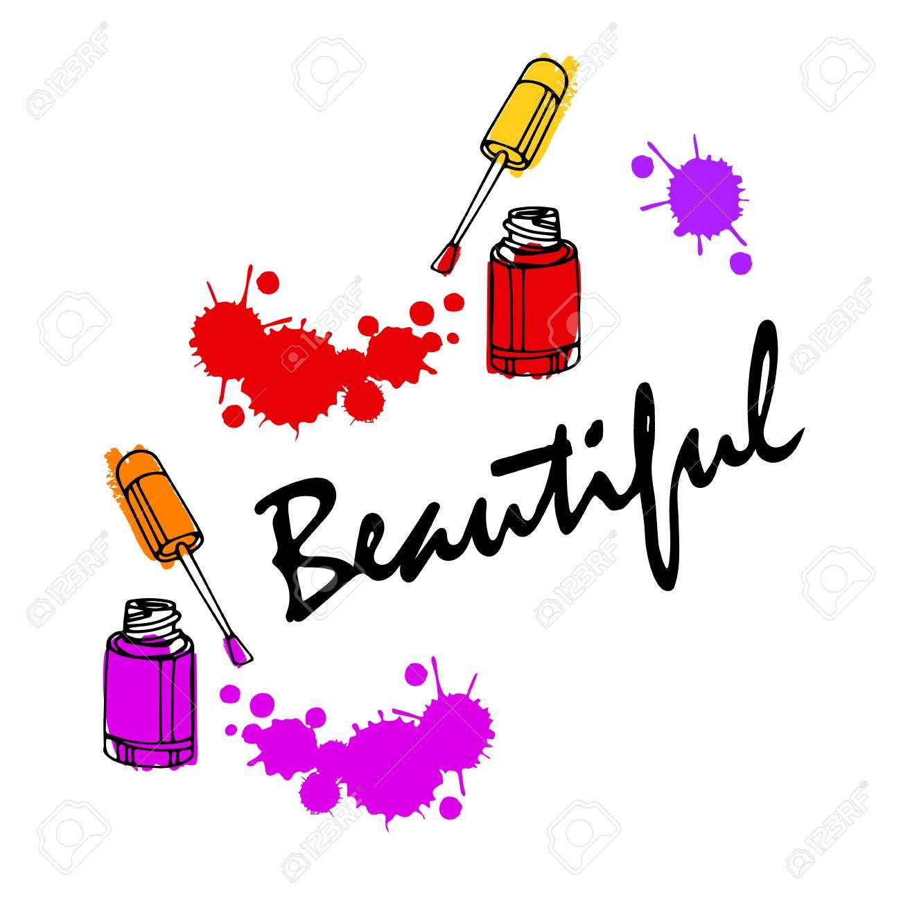 爪を磨く。マニキュアを描画します。ベクトル ネイル アート コンセプト イラスト。グラマー美容室ロゴの要素です。