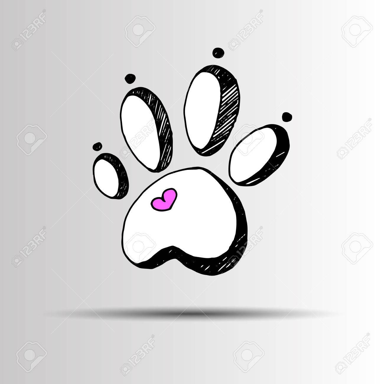 Relativ Empreinte De Chien Impression Patte Pied Forme Illustration Animal  HI09