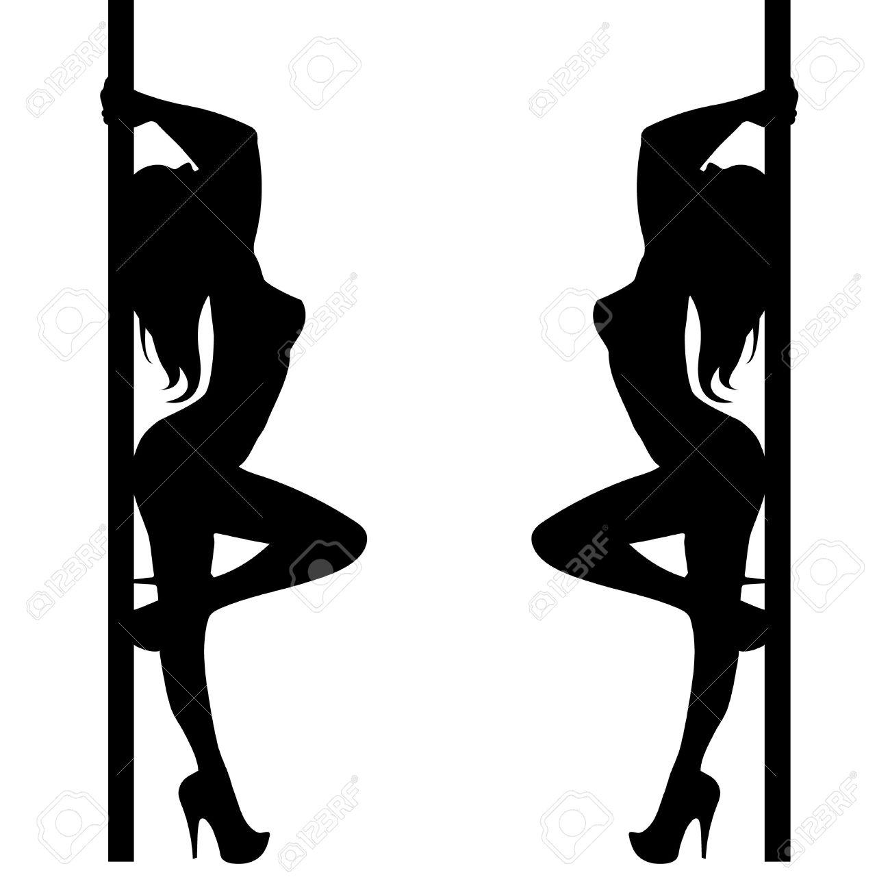 ポールの女の子イラスト ダンサー ストリップ ベクトル ストリッパー