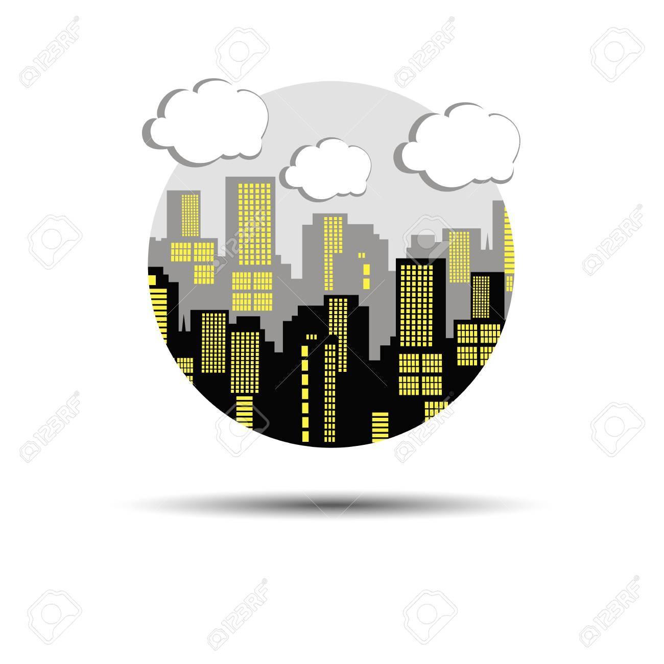 Ciudad Silueta Vector Arquitectura Paisaje Urbano Resumen ...
