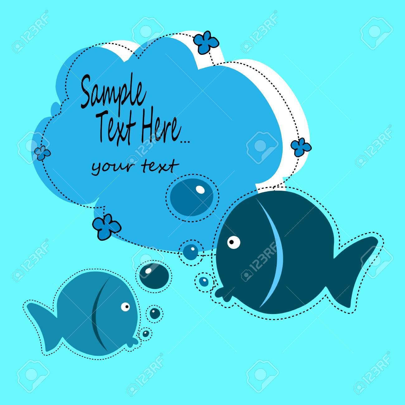 Poisson Illustration Bébé Vecteur Animal Dessin Animé Mignon Mer Eau Conception