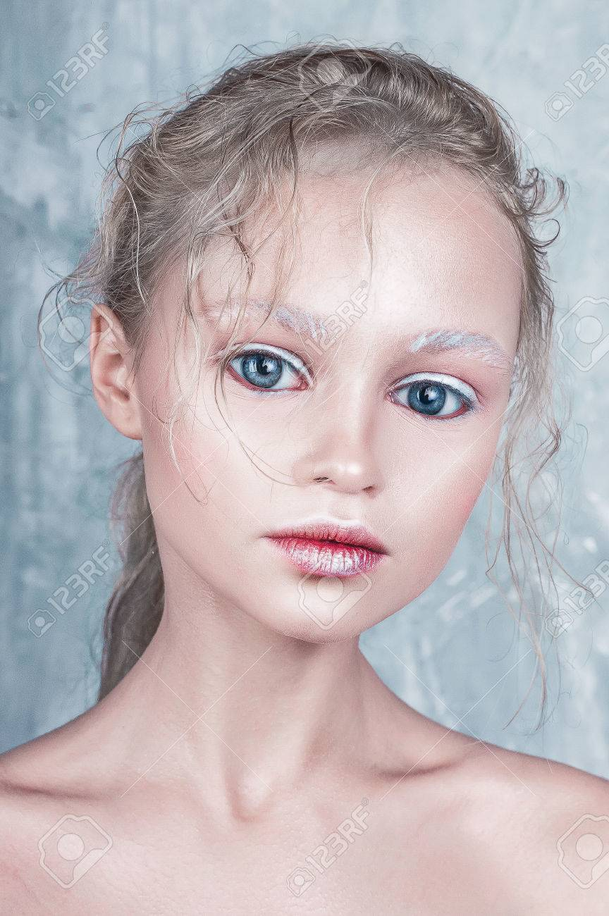 Halloween Doll Face Beautiful Girl With Perfect Make Up And ...