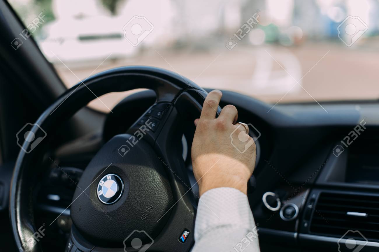 Hand On Steering Wheel Of Vintage, Retro Car. Man Drives Luxury ...