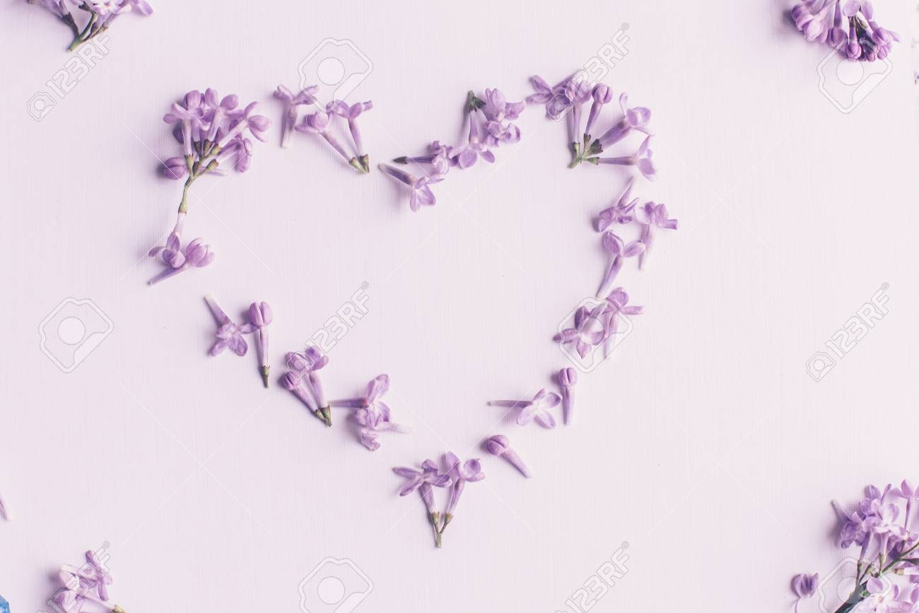 Spring Flowers Lilac Flowers On White Wooden Background Top
