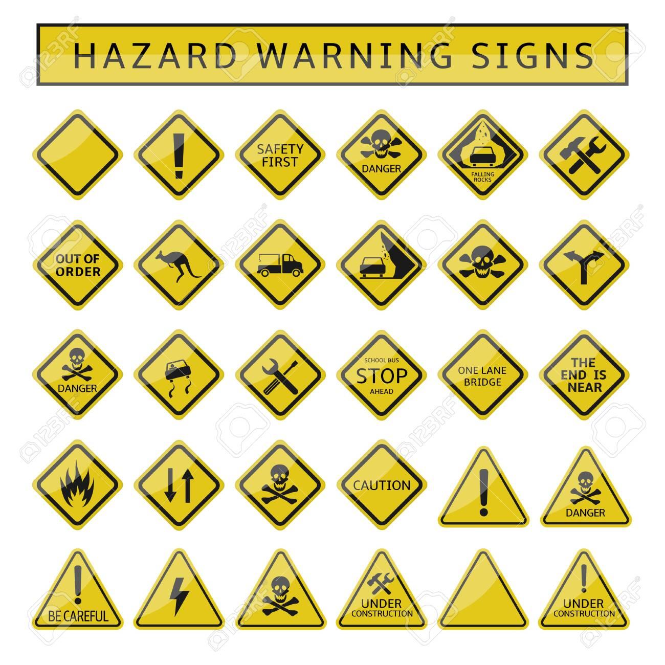 Hazard warning signs. Yellow warning symbol set, caution danger signs - 133308295