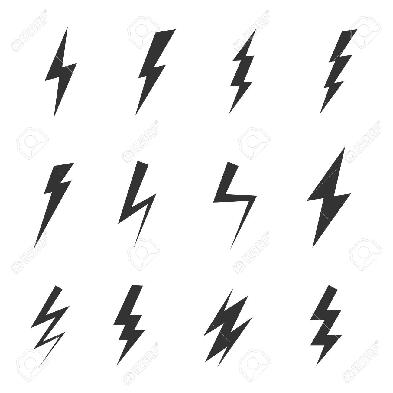 Simple icon storm or thunder and lightning strike isolated - 145175150