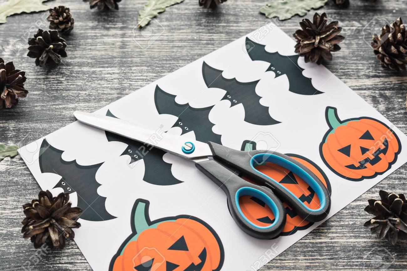 Create A Greeting Card On Halloween Pumpkin Bat On A Wooden