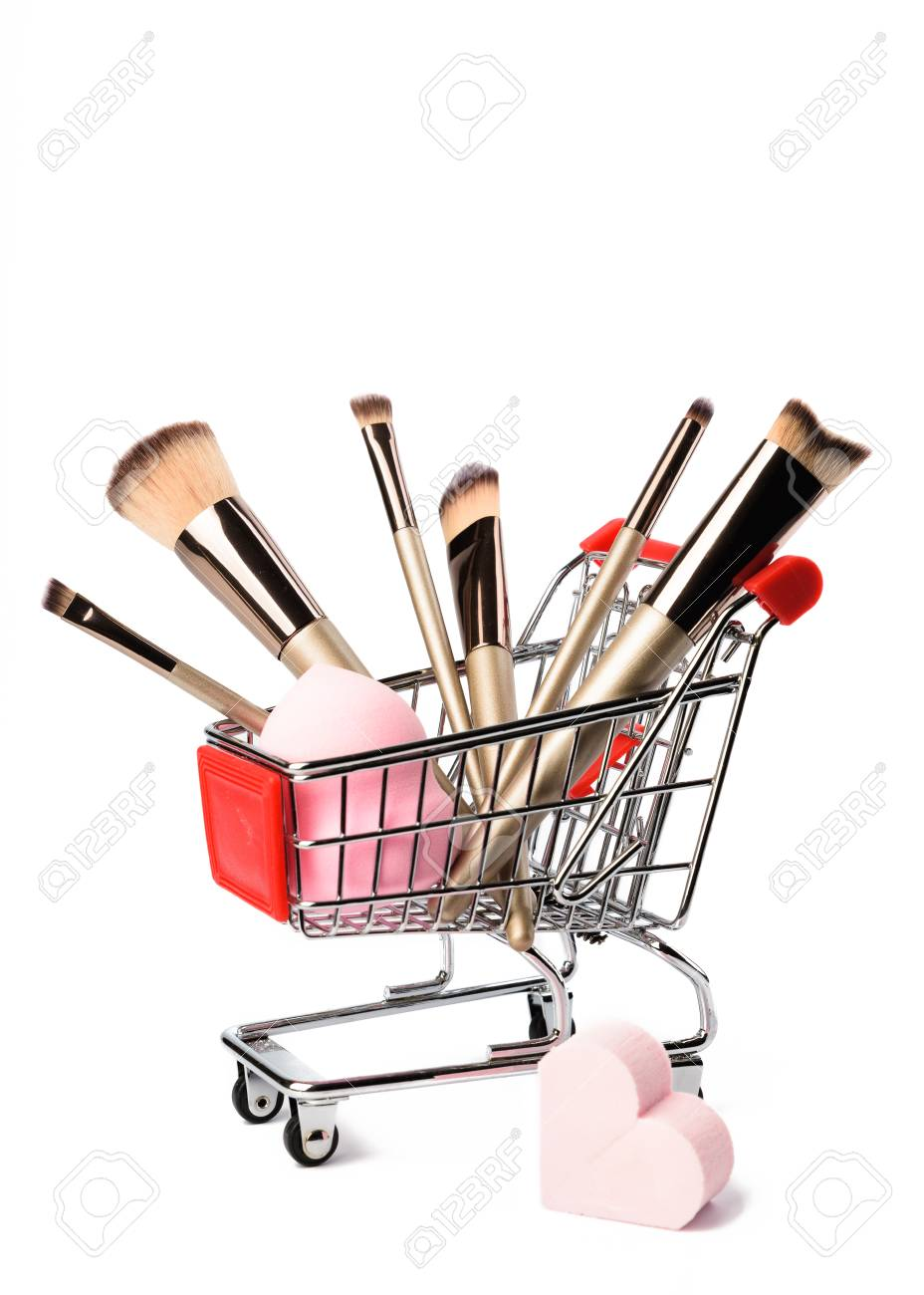 Makeup brushes isolated on white background  Cosmetic, beauty