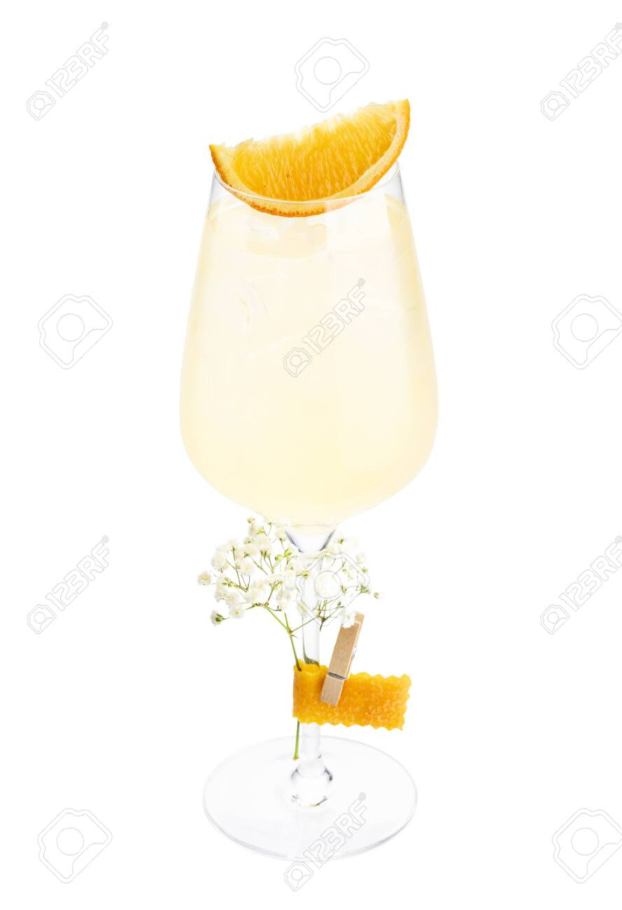White Wine Spritzer Alcoholic Cocktail In Champagne Saucer Glass Stock Photo Picture And Royalty Free Image Image 154742431