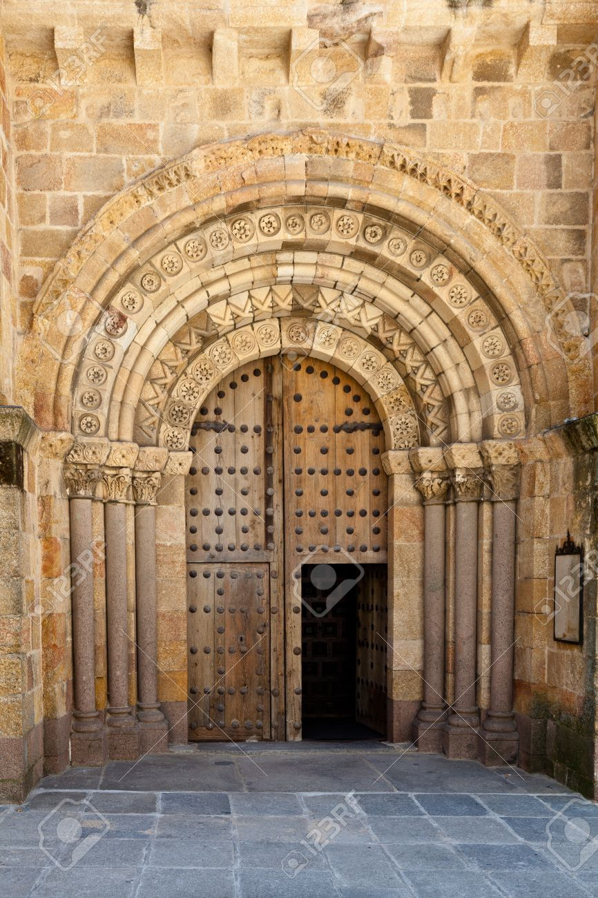 Architectural detail of an old church door in Avila Spain with beautiful beige stone detail & Architectural Detail Of An Old Church Door In Avila Spain With ...