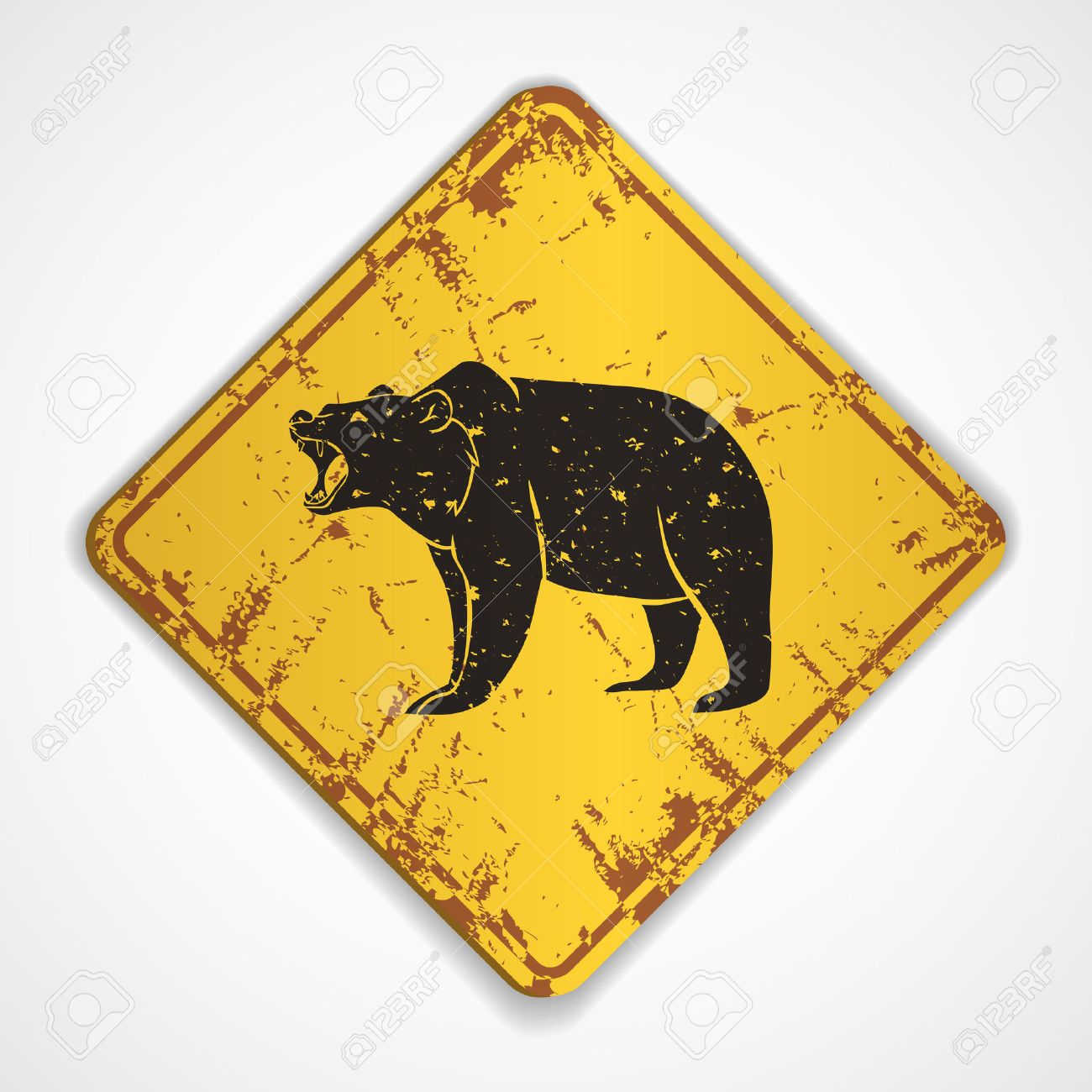 Old metal plate with roaring bear.Vector illustration Stock Vector - 38427924