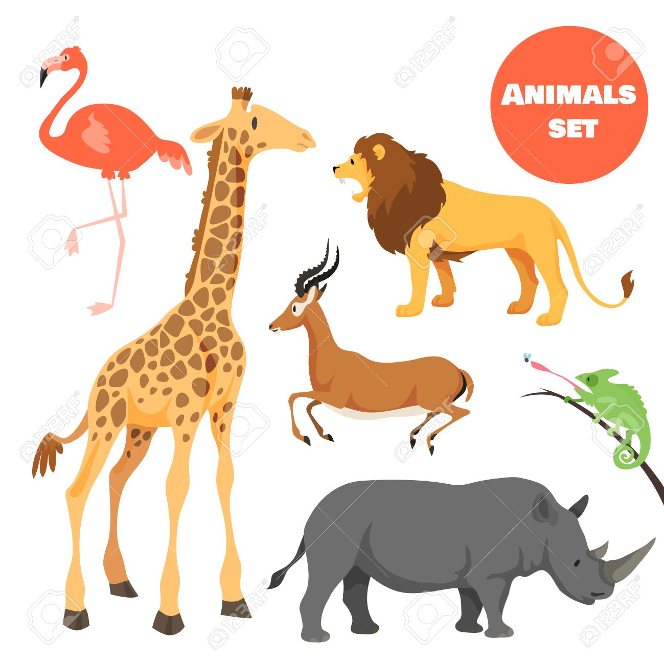cute african animals set for kids in cartoon style suitable