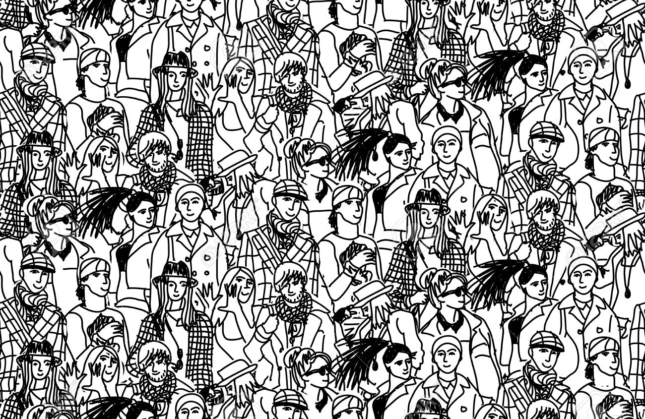 Happy People In Large Group Wallpaper Black And White Vector Illustration Stock