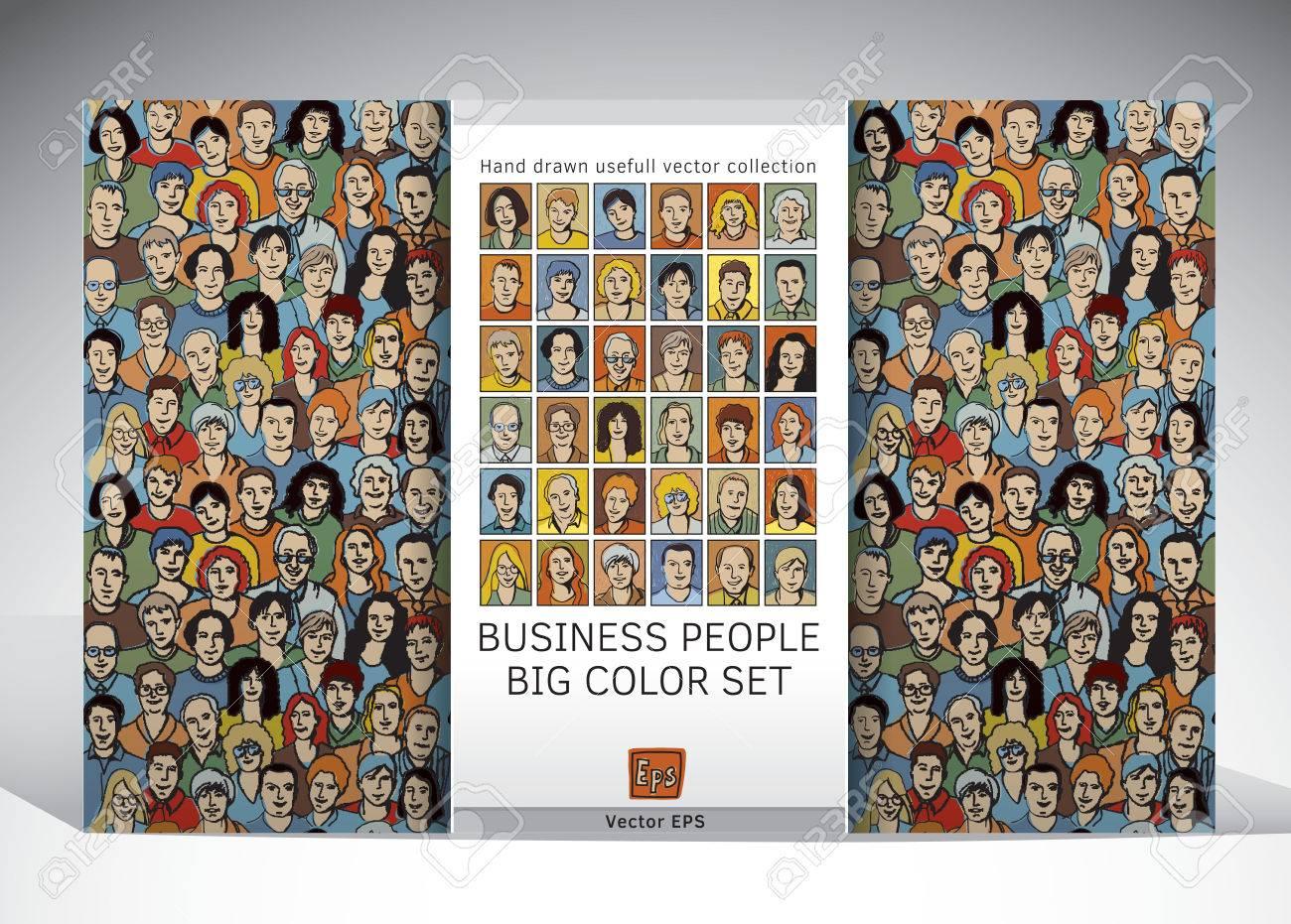 Collection Avec La Foule De Papier Peint De Motif Et Transparente